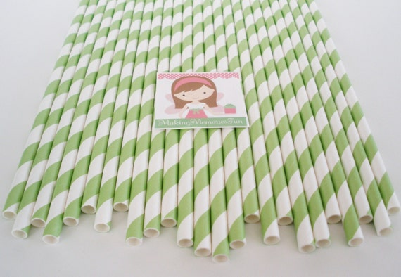 50 GREEN STRIPE Paper Straws.... w/ DIY Blank Printables, Cake Pop Sticks, Retro, Vintage Inspired, Wedding, Graduation