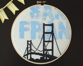 San Francisco Tribute - Mixed Media Embroidery, Sale 50% OFF