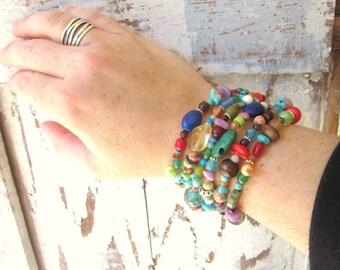 Multi Semi Precious Stone Bracelet. Multi Color Chunky Bracelet. Multi Strand Toggle Bracelet. Colorful Bracelet. Colorful Jewelry