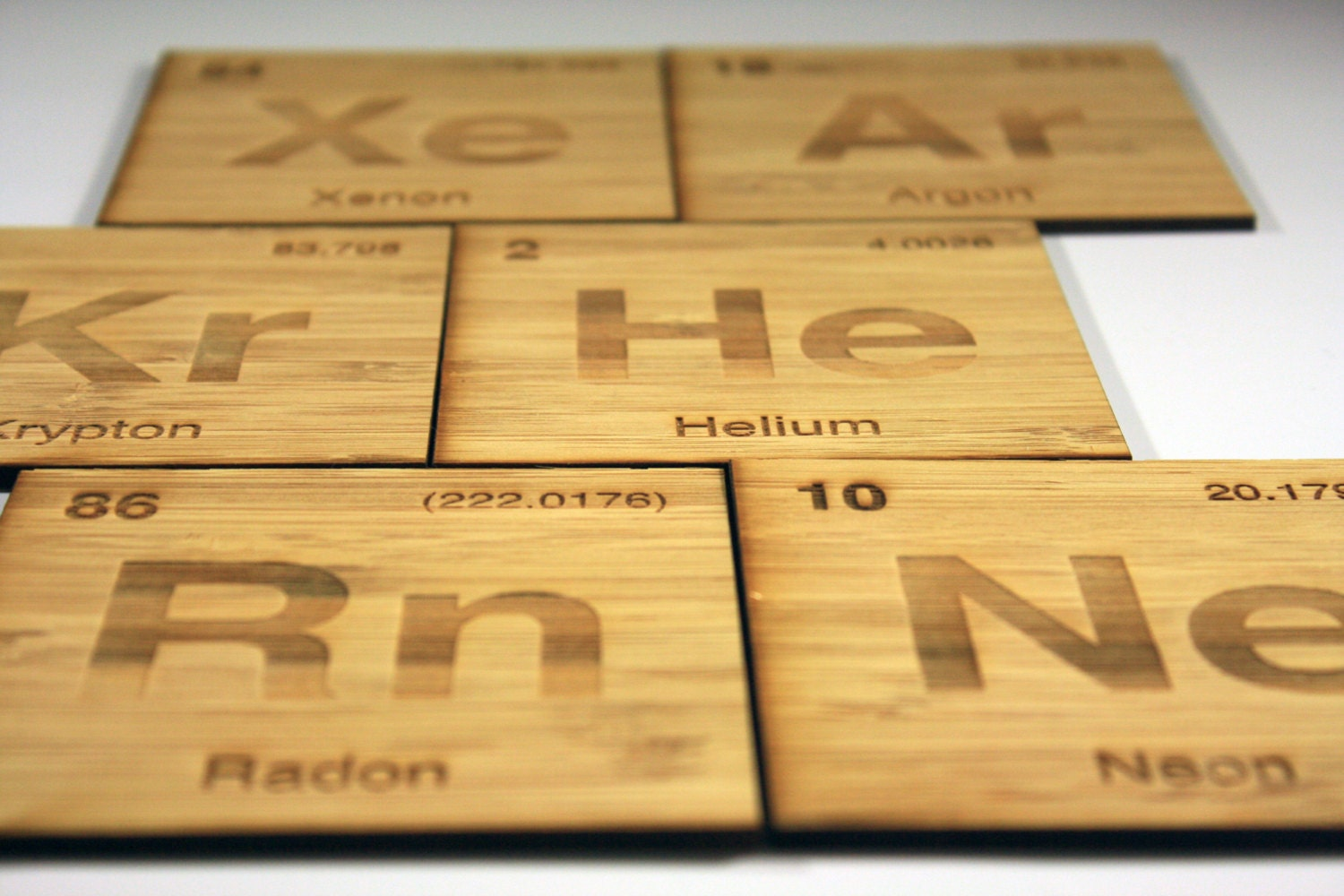 Periodic Table Noble Gases Coasters Set Of 6 In Bamboo
