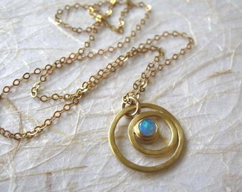 Opal gold pendant , Opal necklace , 14k Gold filled Chain , Gold swirl  gemstone necklace , Handmade by Adi Yesod