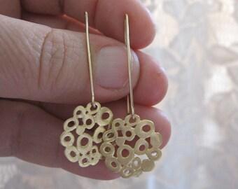 Gold circle earrings , Organic long earrings ,long earrings , Gold lace earrings , Handmade by Adi Yesod
