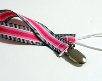 Pink Black Ribbon Pacifier Clip Pacifier Holder