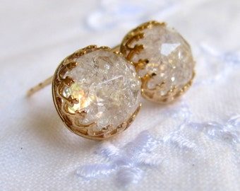 Crystal quartz stud earrings, Bridal earrings, Gold post earrings, Vintage earrings, ice quartz, Bridesmaid earrings, Bridesmaid gift