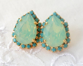 Mint opal and  turquoise crystal Swarovski teardrop stud earrings, Gold earrings, Mint and turquoise, Bridesmaid gifts, Bridal earrings