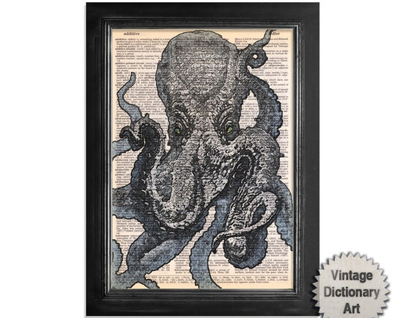 Octopus Extrem Close up - Marine Life Art Printed on Vintage Dictionary Paper - 8x10.5