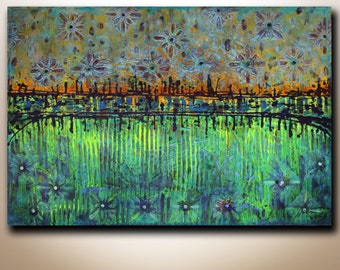 """Art.. Painting..  ABSTRACT CONTEMPORARY ORIGINAL Painting..   Ornaments  24""""x36"""" Acrylic on Canvas fine art..."""