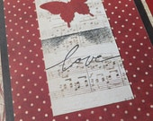 Valentine's Day Cards with BUTTERFLIES, Red Cream and Black,