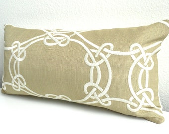 Beige and white embroidered trellis decorative throw pillow