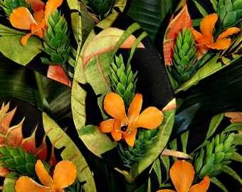 Fabric Flowers - Tropical Leaf Print Lilies with Orange Orchid  (6 Stems)
