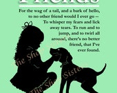 Girl and  Dog Poem Silhouette Friends Green White  8 x 10 Print Wall Art FREE SHIPPING