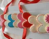 """Folk Style large Hearts with Stitching -one dozen 4"""" hand decorated sugar cookies"""