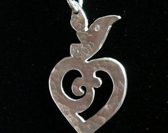 Heart : Little Bird, Silver Pendant
