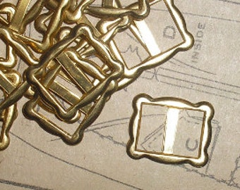 Item 032 - Six Brass Slider Buckles for 3/8 inch Wide Ribbon or Belt - FREE SHIPPING in the USA