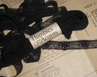 30% off while supplies last!  5/8 inch 100 percent Cotton Lever Lace in Black, White or Natural