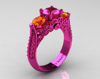 Classic 14K Pink Gold Three Stone Pink Orange Sapphire Solitaire Engagement Ring, Wedding Ring R200-14KPGOPS