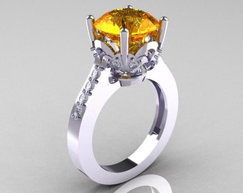 Classic 10K White Gold 3.0 Carat Citrine Diamond Solitaire Wedding Ring R301-10KWGDCI