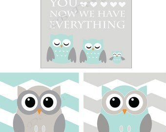 Aqua and Gray Nursery Decor, Gender Neutral Nursery, Owl Nursery Prints, Woodland Nursery Decor - 8x10s