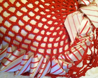 Large Vintage Red Crocheted Heart Pin Cushion