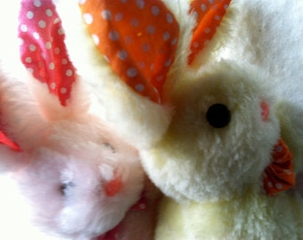 Pair of Vintage Plush Baby Bunnies