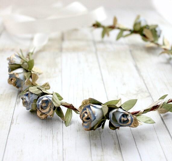 Blue Gold Rosebuds Floral Crown Wedding, Flower Crown, Paper Flowers, Spring, Something Blue, Hair Wreath, Bridal, Hair Accessories,