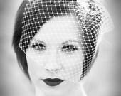 Birdcage veil, bridal birdcage, white ivory birdcage veil, veil birdcage, bridal head piece, couture bride, chic bride.