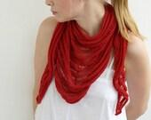 Handmade knitted women shawl scarf cotton red summer