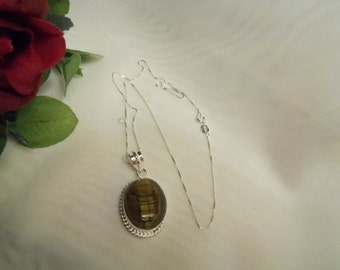 Sale- Men's Women's LARGE TIGER's EYE Stone w/ Sterling Silver 925 Italian Box Chain Necklace- Birthday Gift Him Her Mom Dad Mother Father