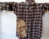 Skull-On Plaid Flannel Shirt (men's x-small, boys large ooak)