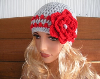 Womens Hat Crochet Hat Cloche Winter Fashion Accessories Women Beanie Winter Hat in Light gray with Red Stripes and Flower