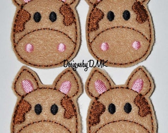 Chocolate Moo Cow on Tan Felt Embroidered Embellishment Clippie Cover SET of 4 - Multiple Sets Available