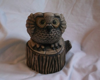 SALE 25% Off Vintage 1979 Mary L. Grossmiller Wise Guy Owl Planter Stained Stoneware Reduced