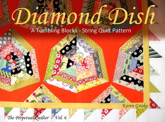 DiamondDish String Quilt Pattern, PDF Quilt Pattern, Tutorial, Retro & Mod, Upcycle, Recycle