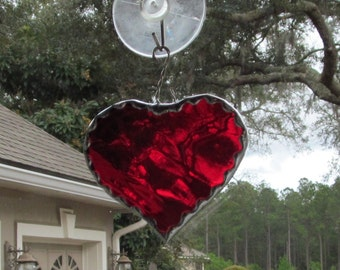 "Scarlet Red Waterglass Heart with Twisted Wire Hanger & Decorative Scalloped Foil Border- Finished Size 3"" x 3.75"""