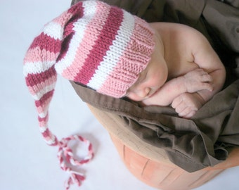 Newborn girl dark pink, light pink, and white photo prop knitted hat - IN STOCK