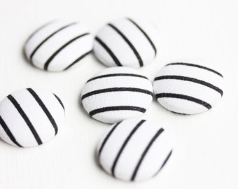 Fabric Cabochons, Buttons, Fabric Buttons, Large Cabochons, Striped Cabochons (6x)