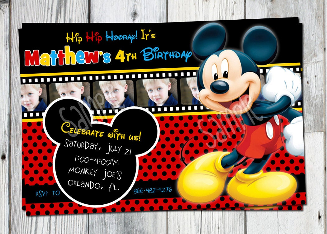 mickey mouse birthday invitation printable boys personalized