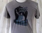 Nusrat Fateh Ali Khan Bismillah 2-color Screenprint on Heather Brown unisex T-shirt