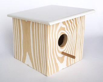 Modern Faux Wood Grain Birdhouse - Nest Box - White Natural - Bird House