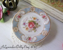 Dollhouse Plate Blue Staffordshire Rose