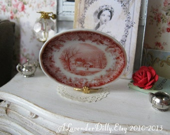 Red Winter's Eve Platter for Dollhouse