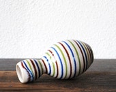 Mid Century Art Pottery Vase, Retro Stripe Pop Modern Decor