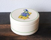 Vintage Pottery Crock & Lid, Cookie Jar Salt Box, Pfaltzgraff York PA Hand Painted Signed Clown Jack-in-the-Box Collectible Decor