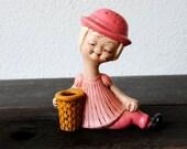 Retro Pink Ceramic Girl Hat Pin Holder, Vanity Makeup Bathroom Toothbrush Blonde Figurine, 1960s Vintage