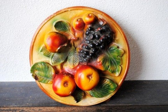 Vintage Fruit Wall Decor : Items similar to antique cast plaster wall art ornate