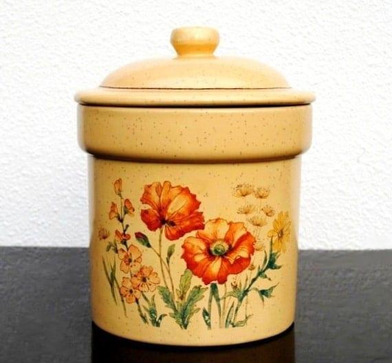 Vintage Treasure Craft Cookie Jar, Poppy Flowers, Yellow Kitchen Decor Storage