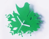 Bird in a Nest acrylic wall clock in green (the very last one)
