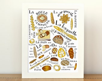 Kitchen Art Home Decor Poster French Breads 8x10 art print Pains Francais Gourmet foodie food brown typographic print
