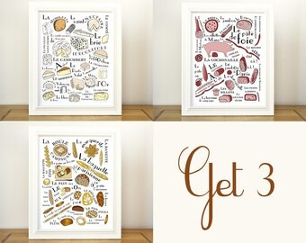 Kitchen Art Prints 3 posters French Food craft 11x14 Cheeses breads meat gourmet chef foodie food lover typographic print