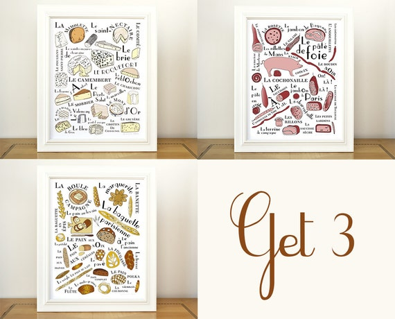 Kitchen art prints 3 posters french food craft by for French kitchen artwork